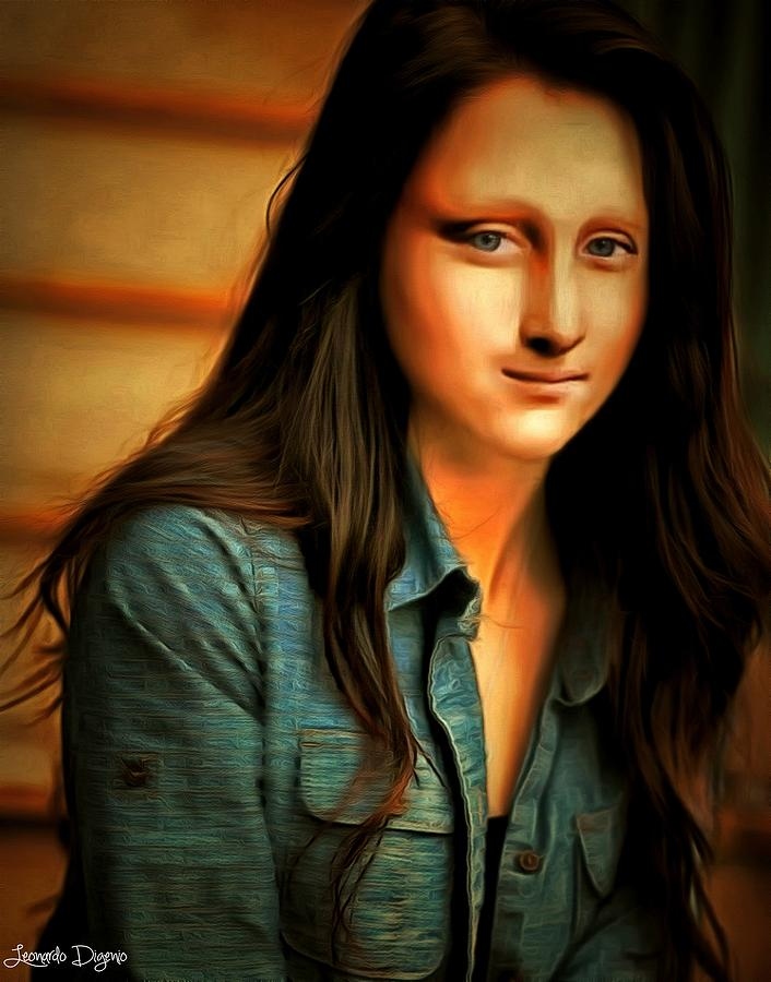 modern mona lisa rembrandt style painting by leonardo digenio