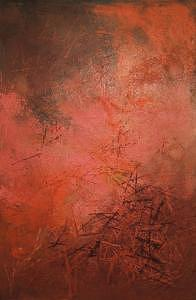 Modern Painting - Modern Oil Abstract On Masonite 1963 by Richard Olmstead