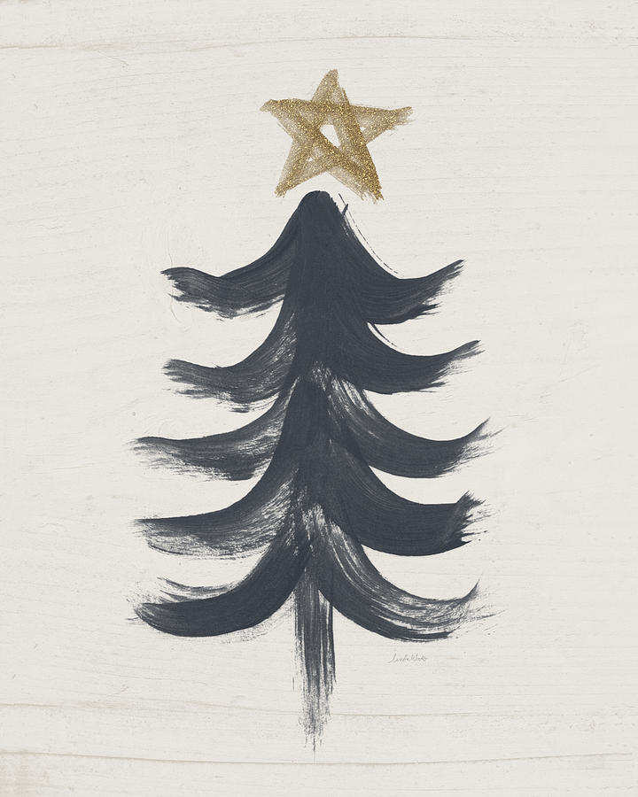 Contemporary Painting - Modern Primitive Black and Gold Tree 1- Art by Linda Woods by Linda Woods