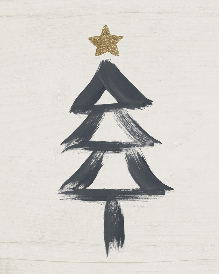 Contemporary Painting - Modern Primitive Black and Gold Tree 2- Art by Linda Woods by Linda Woods