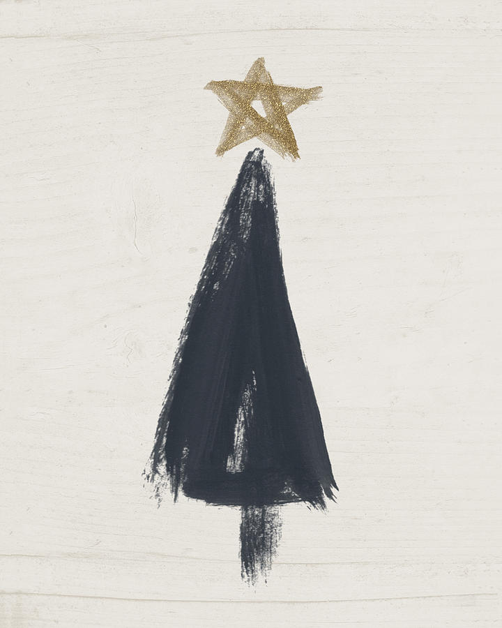 Contemporary Painting - Modern Primitive Black And Gold Tree 3- Art By Linda Woods by Linda Woods