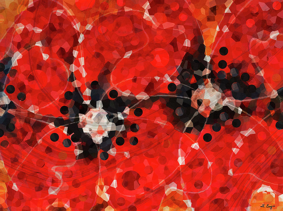 Red Painting - Modern Red Poppies - Sharon Cummings by Sharon Cummings