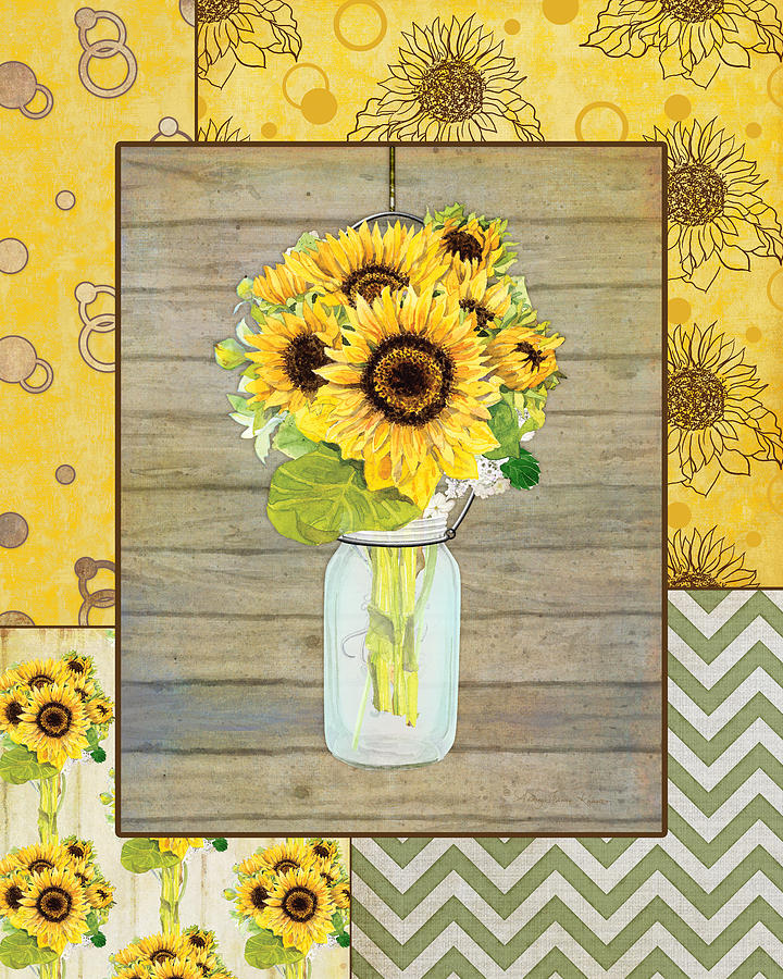 Modern Rustic Country Sunflowers In Mason Jar Painting By Audrey Jeanne Roberts