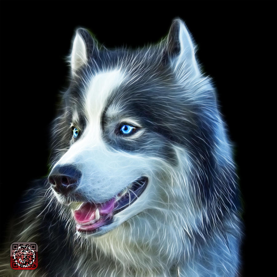Modern Siberian Husky Dog Art - 6024 - BB by James Ahn