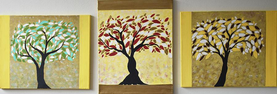 Modern Tree Painting Colorful Canvas Of Life Art Set By Geanna Georgescu
