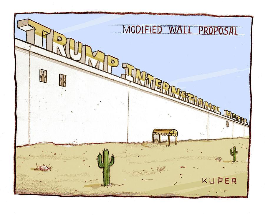 Modified Wall Proposal Drawing by Peter Kuper
