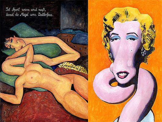 Cartoons Painting - Modigliani Giraffe And Marilyn Giraffe by Martin Missfeldt