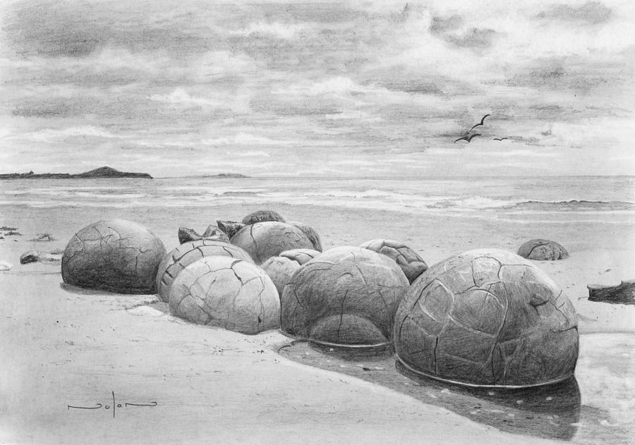 Pencil Drawing - Moeraki Boulders by Nolan Clark