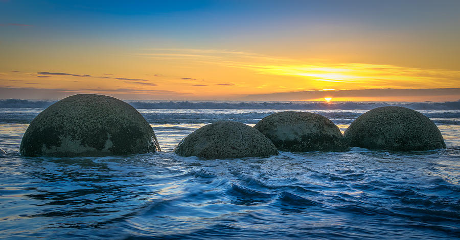 Moeraki Photograph - Moeraki Sunrise by Martin Capek