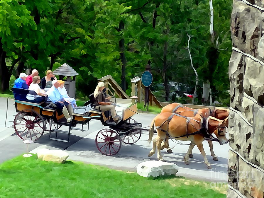 Horse And Buggy Digital Art - Mohonk Carriage Tour by Ed Weidman