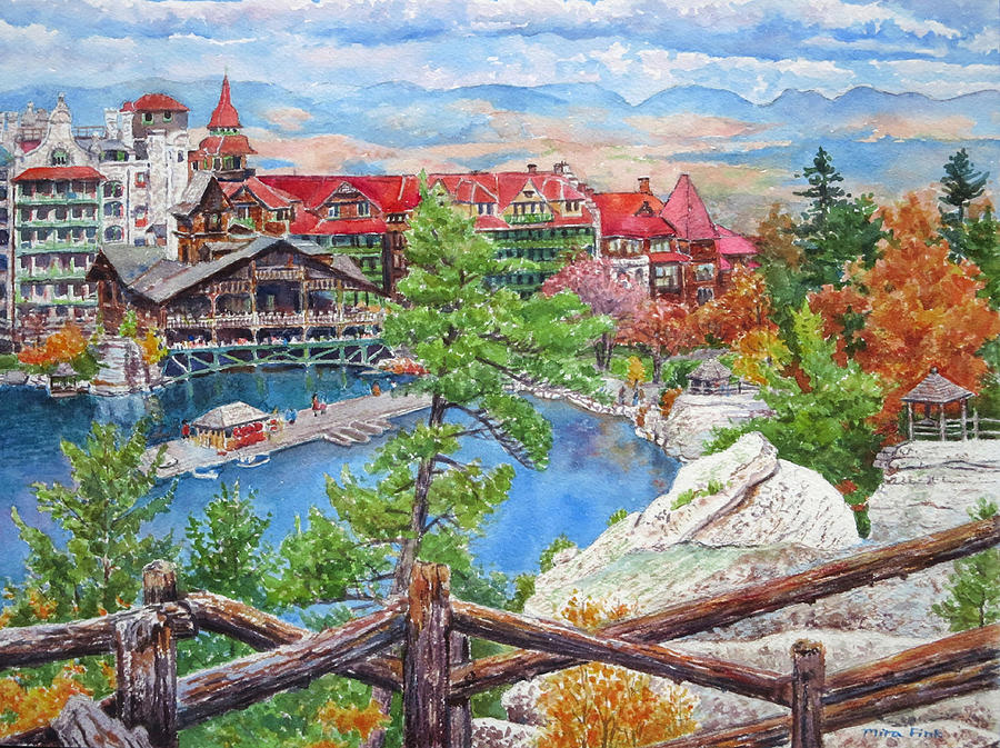 Mohonk Painting - Mohonk Fall View From Cliffs by Mira Fink