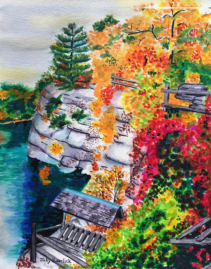 Autumn Painting - Mohonk Preserve In Autumn by Judy Swerlick