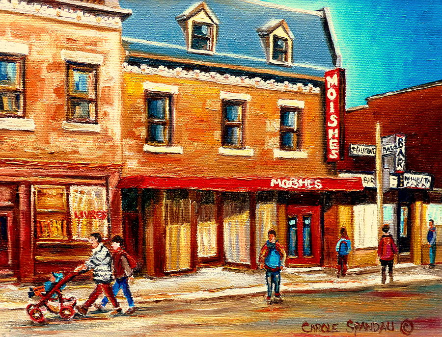 Montreal Painting - Moishes The Place For Steaks by Carole Spandau