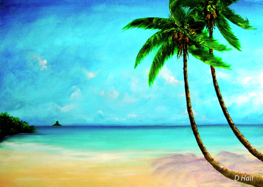 Oahu Painting - Mokolii Chinamans Hat From Waiahole Beach Park #280 by Donald k Hall