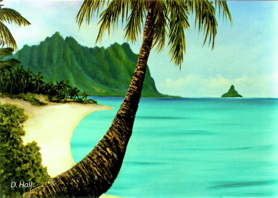 Mokolii Painting - Mokolii Chinamans Hat Koolau Mountains #81 by Donald k Hall