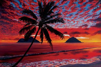 Red Painting - Mokulua Fireclouds by Thomas Deir