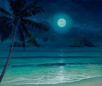 Full Moon Painting - Mokulua Milky Way by Thomas Deir