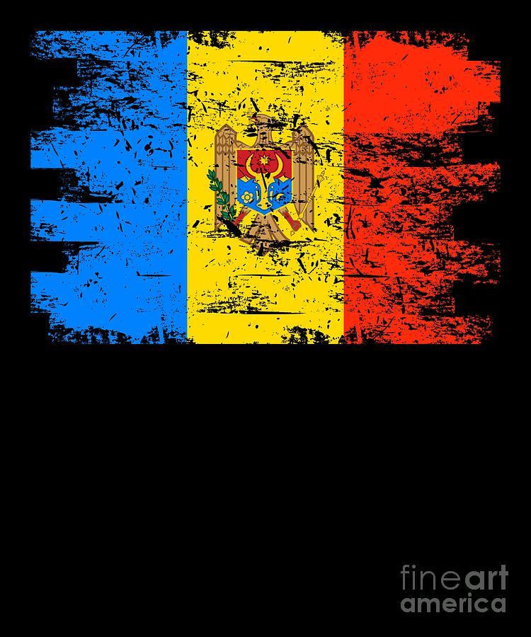 Patriotic Digital Art - Moldova Gift Country Flag Patriotic Travel Shirt Europe Light by J P