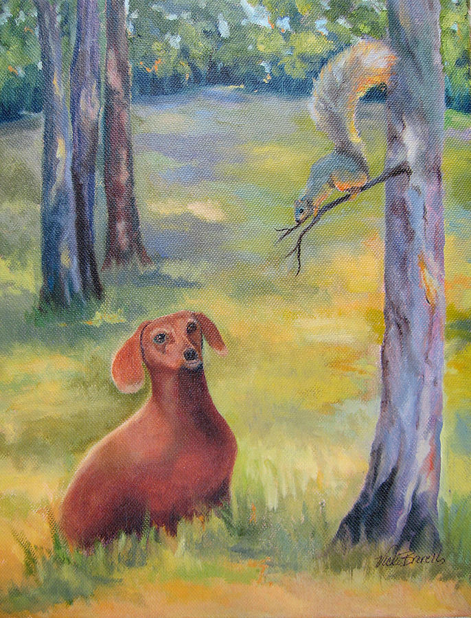 Animal Painting - Molly And The Squirrel by Vicki Brevell