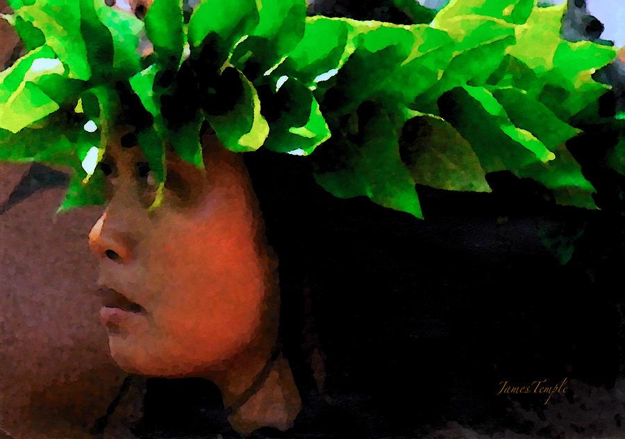 Hula Digital Art - Molokai Wahine Dancer by James Temple