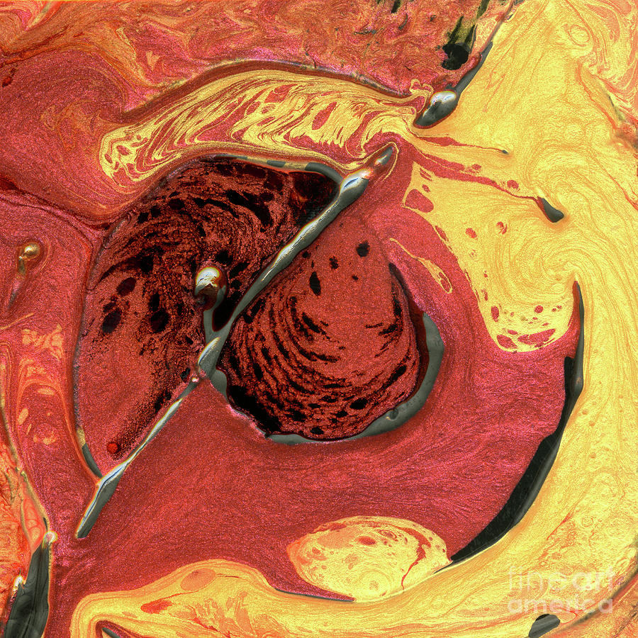 Red Mixed Media - Molten Core by Terry McConnell