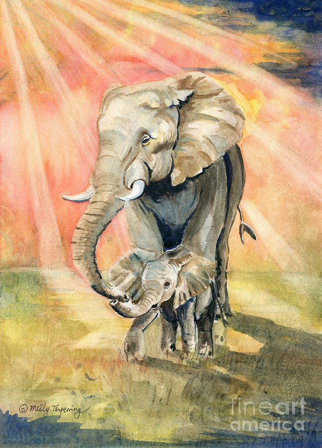 Mom And Baby Elephant Painting - Mom And Baby Elephant by Melly Terpening