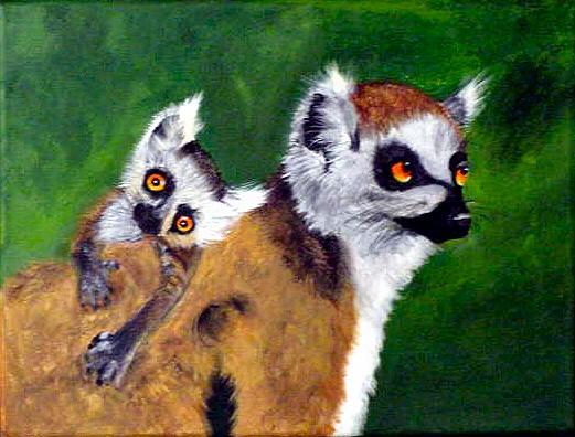 Wildlife Painting - Mom And Baby Lemur by Dia Spriggs