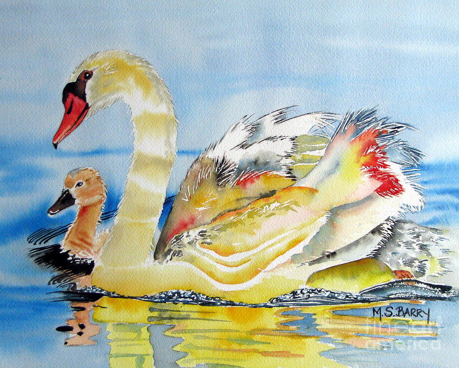Swans Painting - Mom And Baby by Maria Barry