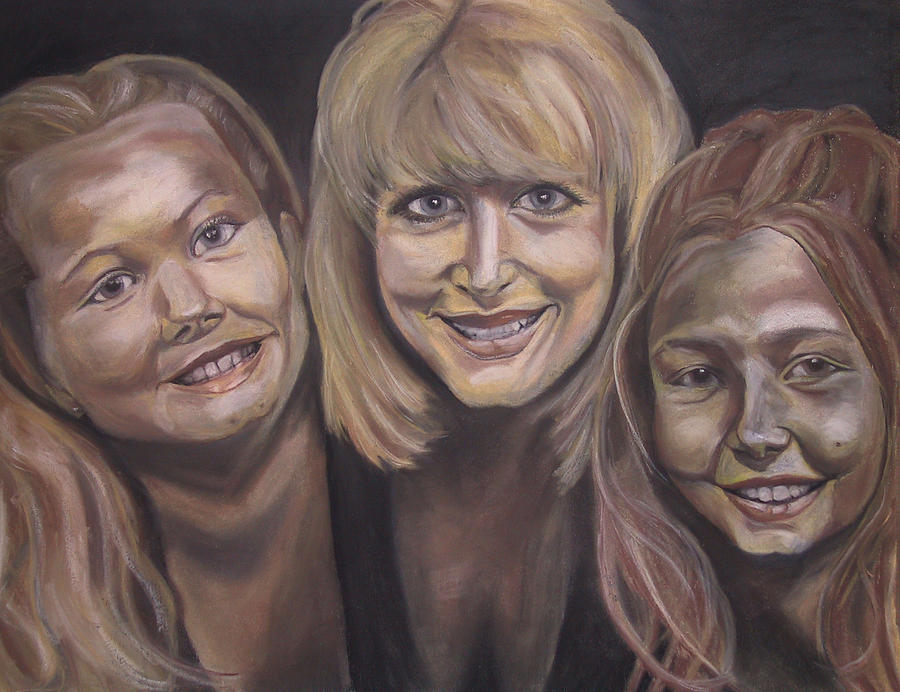 Portrait Pastel - Mom And Daughters by Jennifer Hall