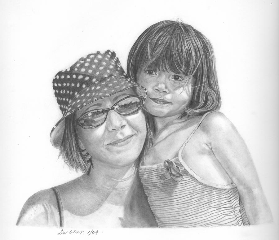 Graphite Drawing - Mom And Me by Sue Olson
