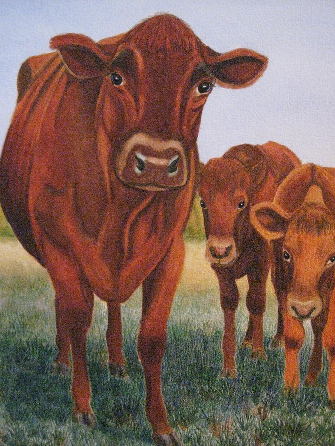 Cows Painting - Mom And The Kids by Barbara Pascal