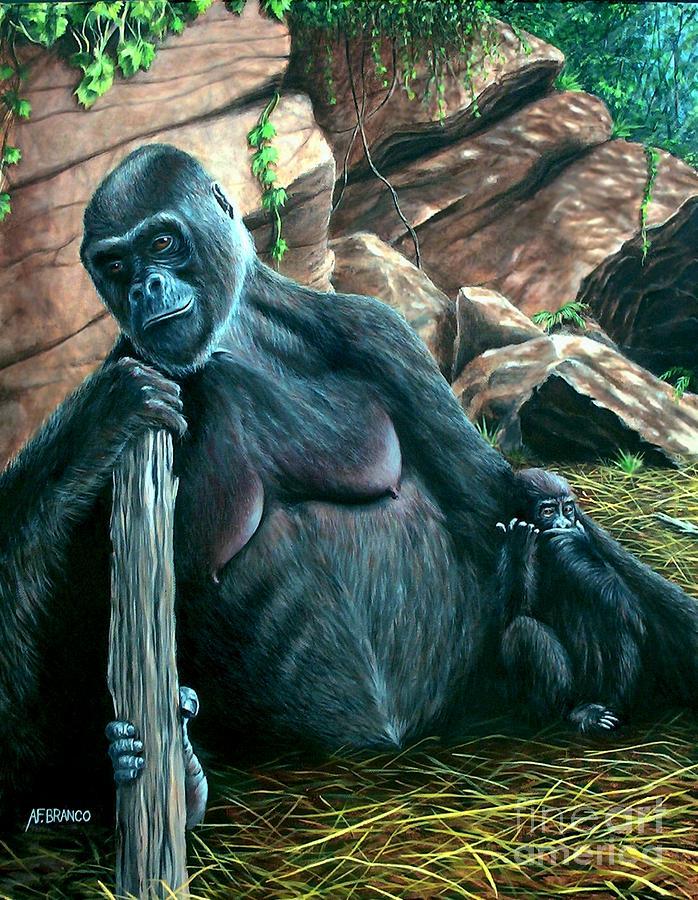 Gorilla Painting - Mom by Antonio F Branco
