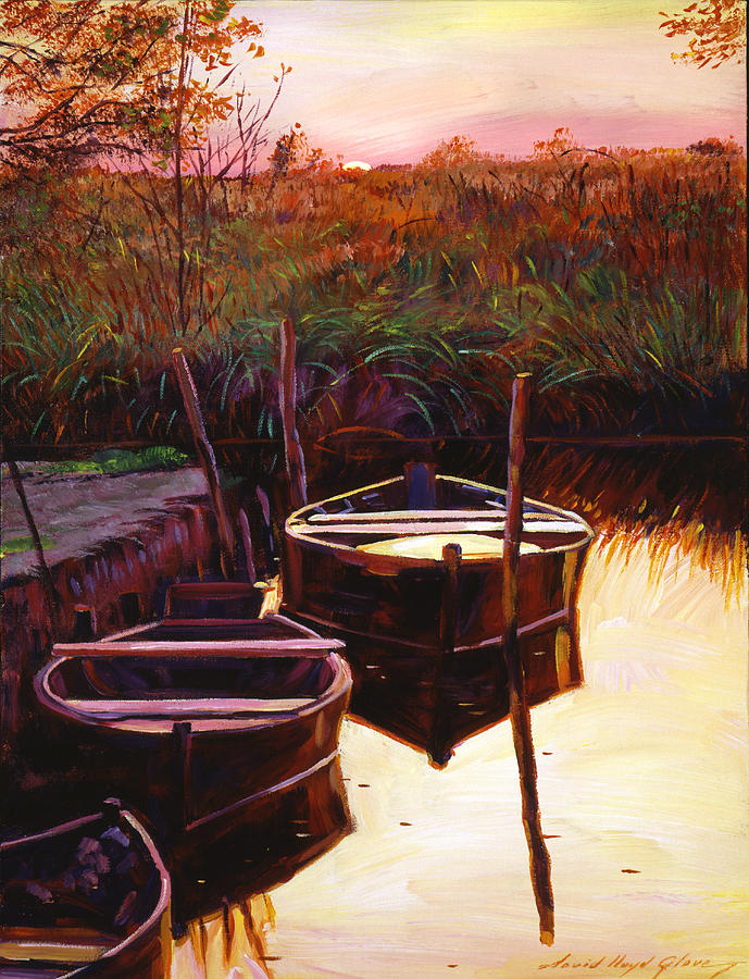 Lakes Painting - Moment At Sunrise by David Lloyd Glover