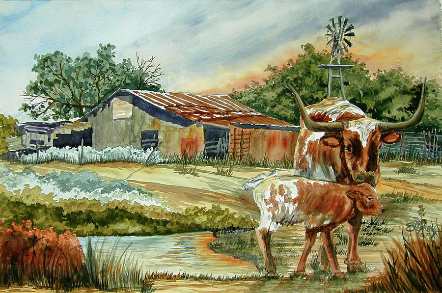 Longhorns Painting - Momma Longhorn And Calf by Ron Stephens