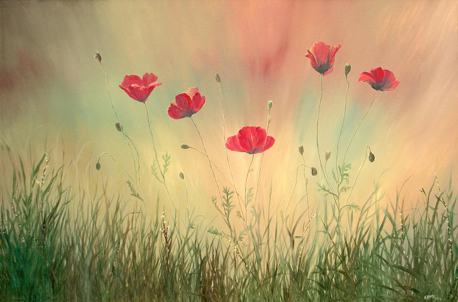 Flowers Painting - Mommies Poppies by Kathie Henry