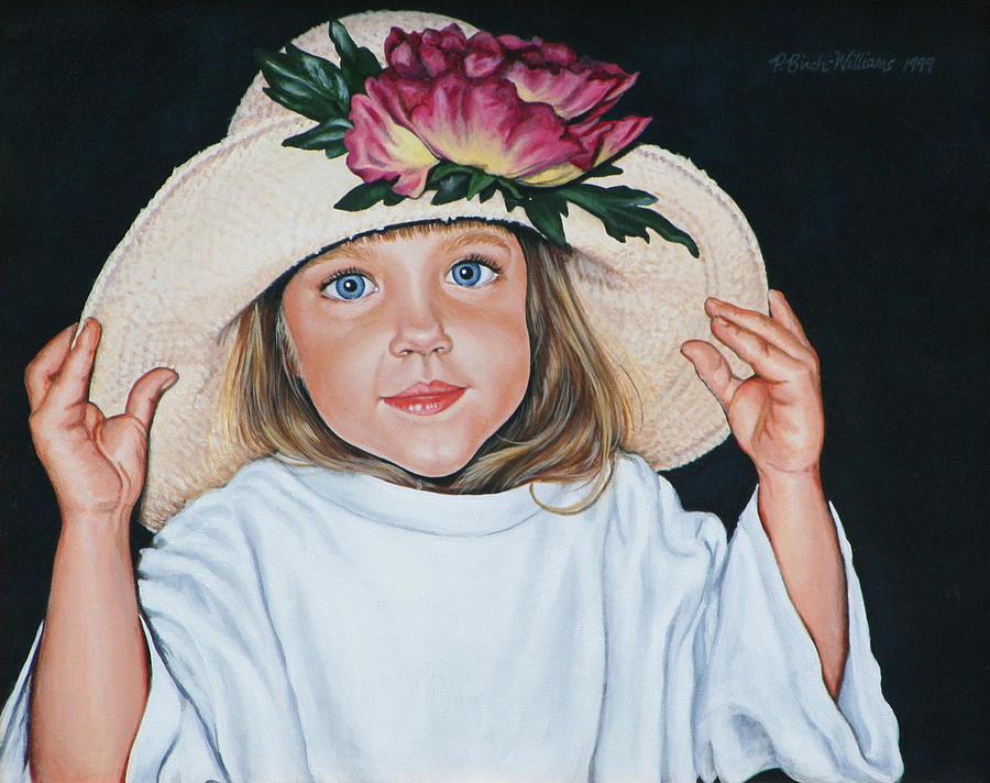 Portrait Painting - Mommys Hat by Penny Birch-Williams