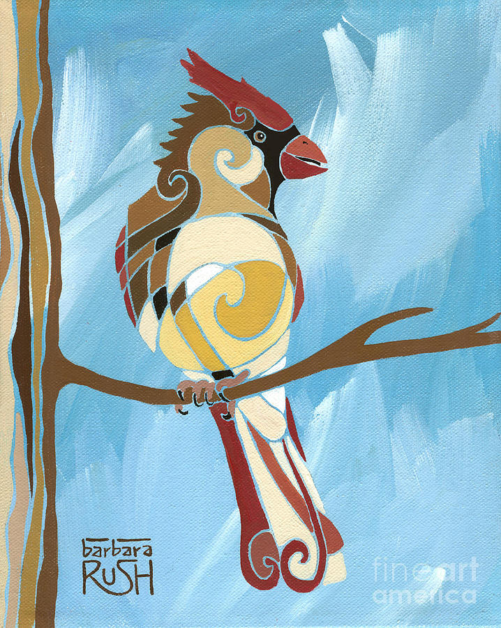 Moms Day Off female cardinal painting by Barbara Rush
