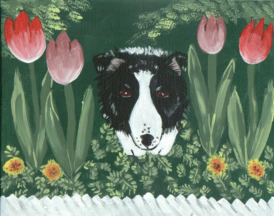 Border Collie Painting - Moms Flowers by Sue Ann Thornton
