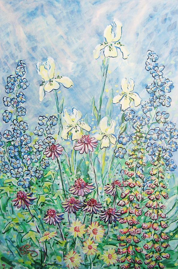 Floral Painting - Moms Garden by Robert Findley