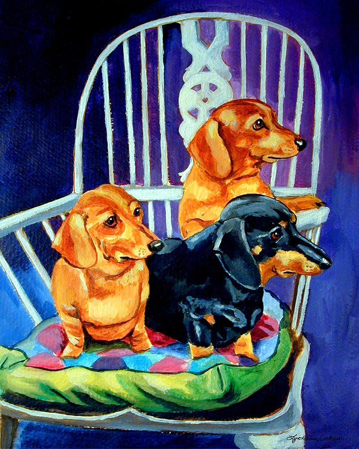 Dachshund Dog Painting - Moms In The Kitchen - Dachshund by Lyn Cook