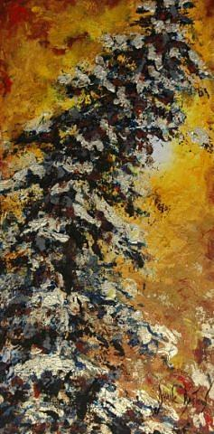 Trees Painting - Mon Beau Sapin by Dyane Dastous