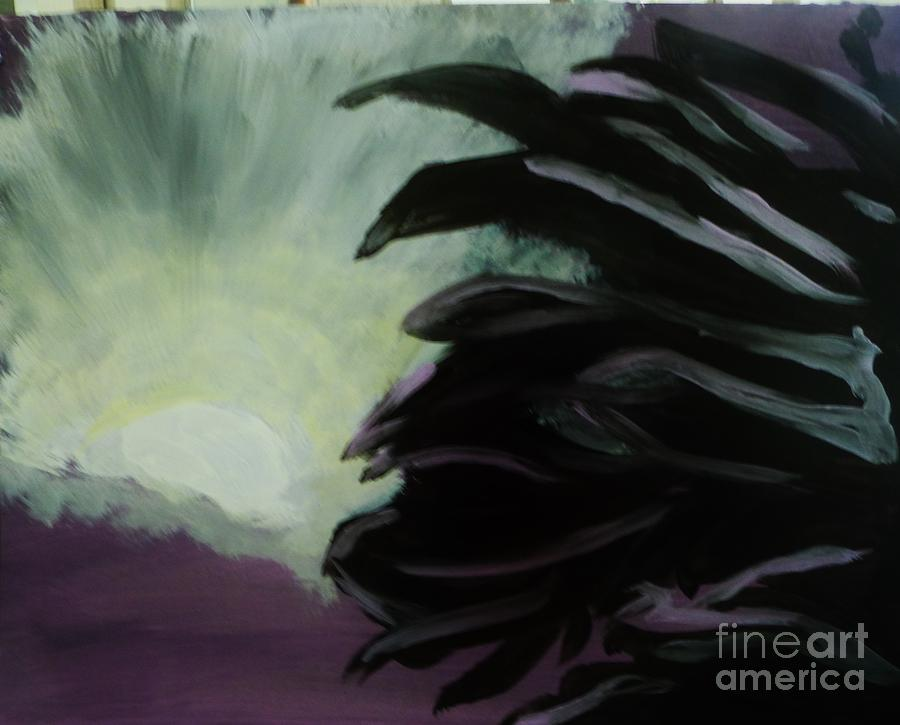 Abstract Painting - Moon Behind The Palm Tree by Marie Bulger