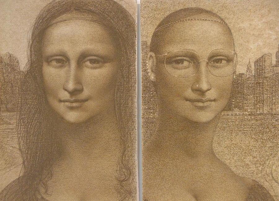 Mona Lisa Painting - Mona Lisa Past And Present by Gary Kaemmer