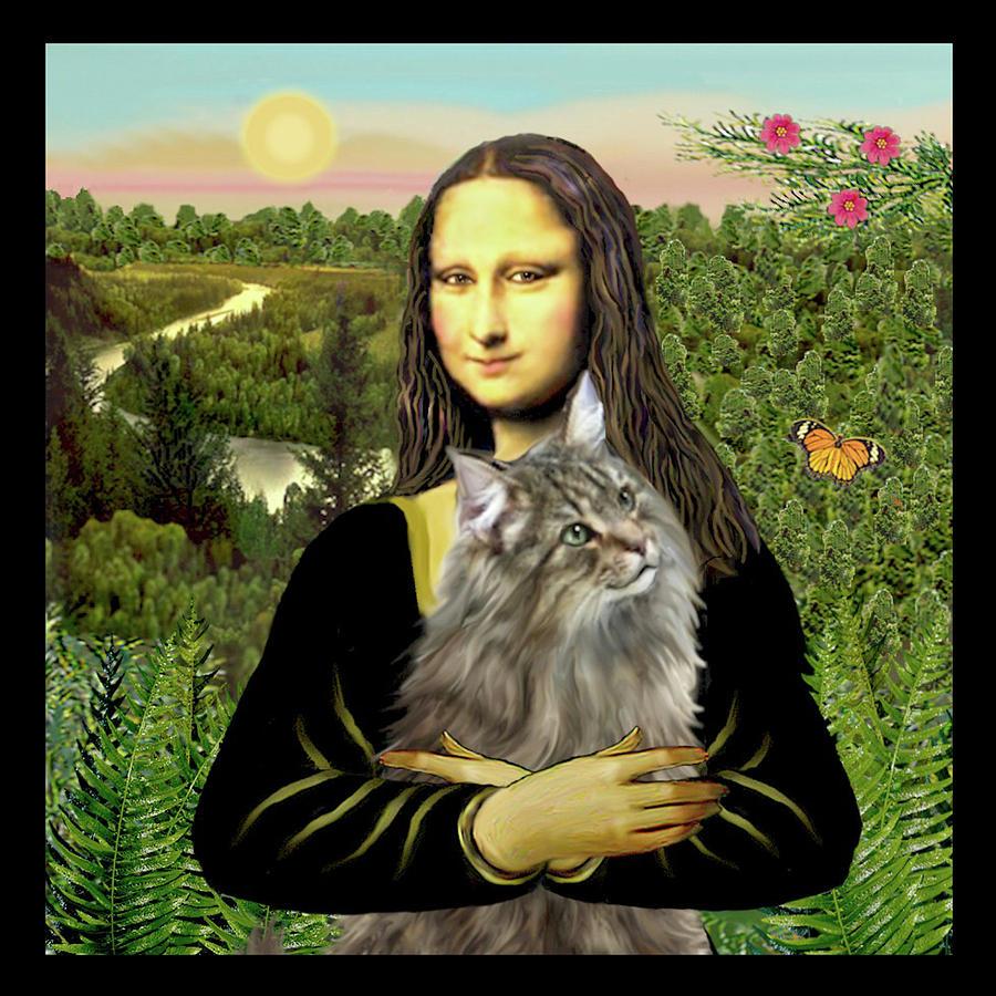 Cat Digital Art - Mona Lisas Norwegian Forest Cat by Jean Batzell Fitzgerald