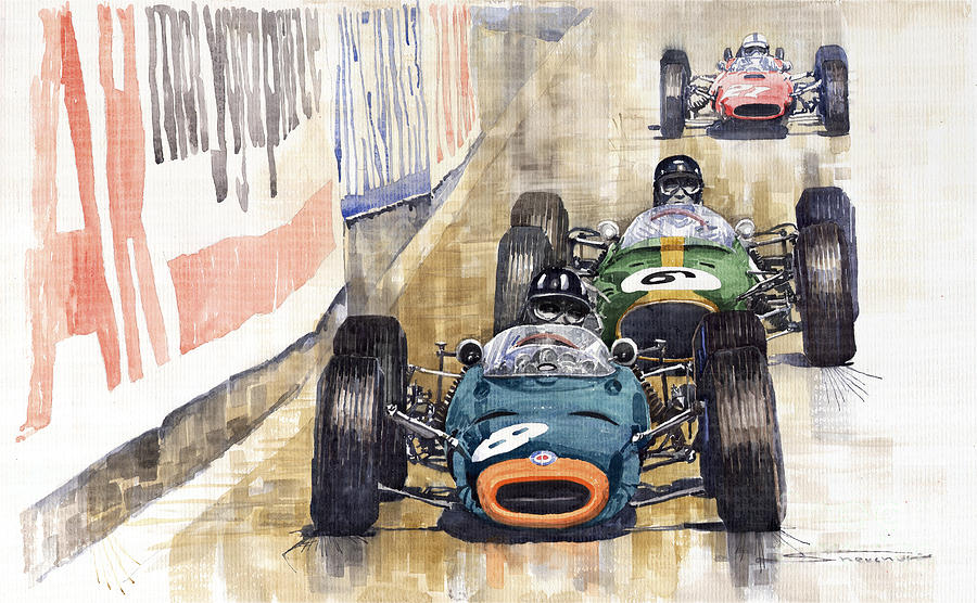 Watercolour Painting - Monaco Gp 1964 Brm Brabham Ferrari by Yuriy Shevchuk