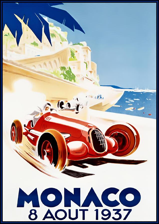 Monaco Grand Prix Digital Art - Monaco Grand Prix 1937 by Georgia Fowler