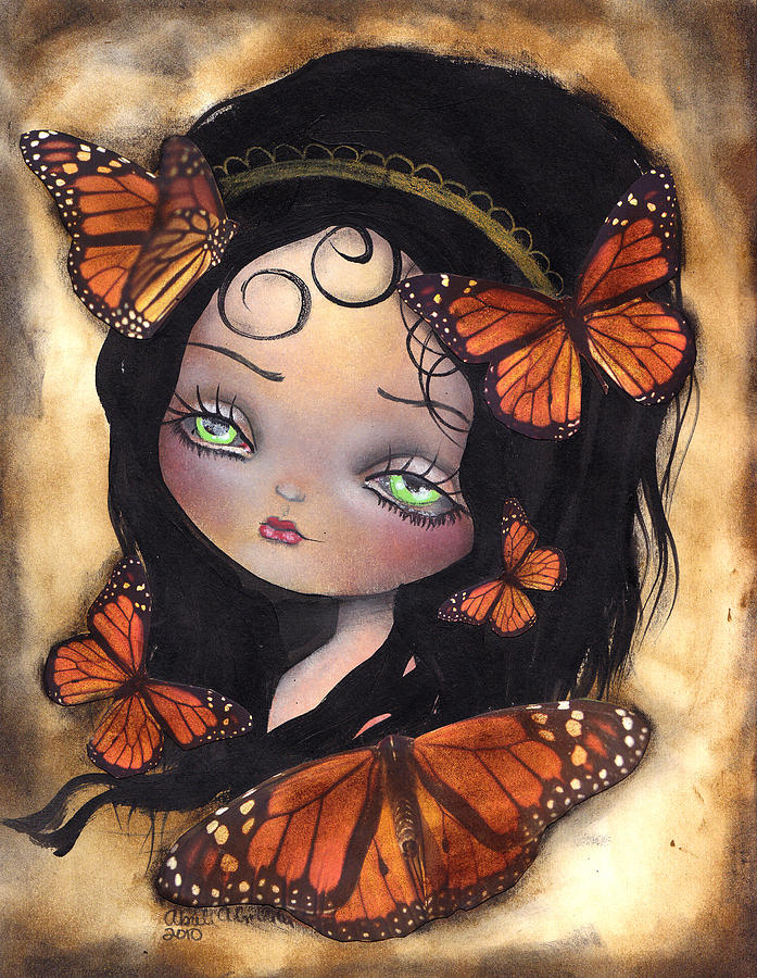 Butterflies Painting - Monarca by  Abril Andrade Griffith