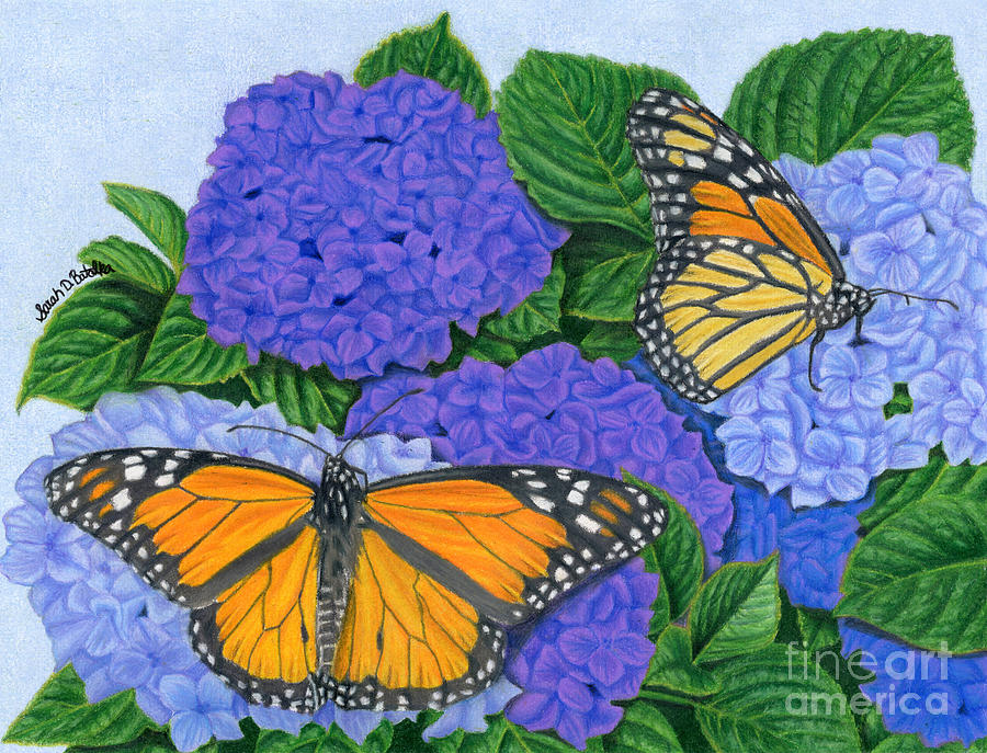 Monarch Butterflies And Hydrangeas Painting By Sarah Batalka