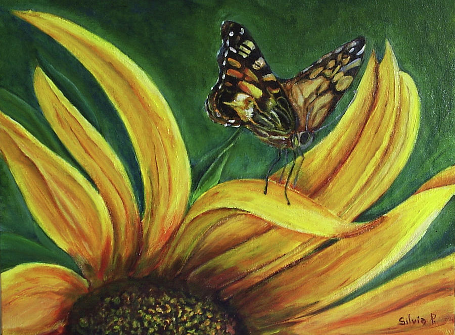 Butterfly Painting - Monarch Butterfly On A Sunflower by Silvia Philippsohn