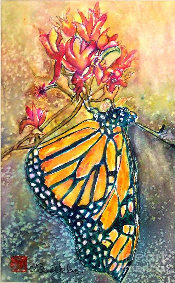 Flowers Painting - Monarch In The Morning by Norma Boeckler